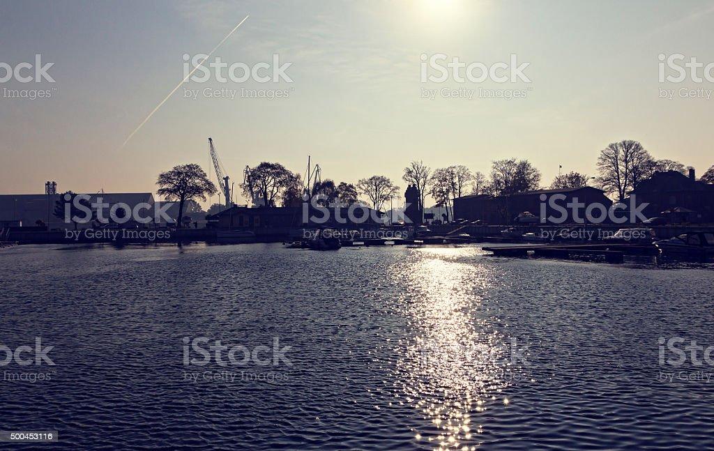 Sunrise at peaceful marina stock photo