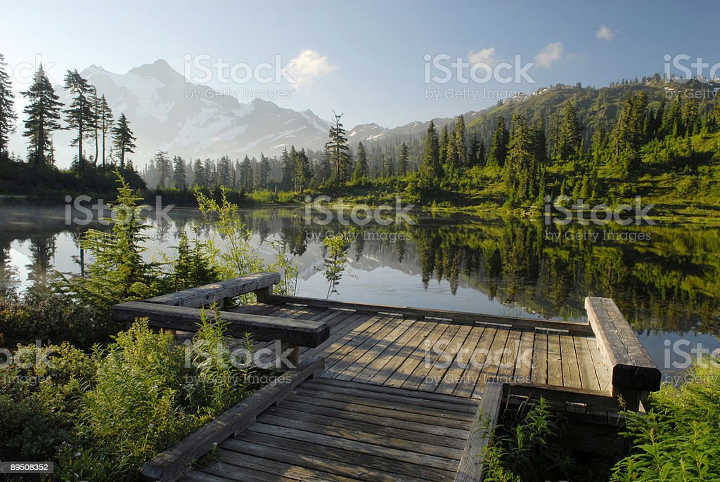 Sunrise at Picture Lake in North Cascade Mountains stock photo