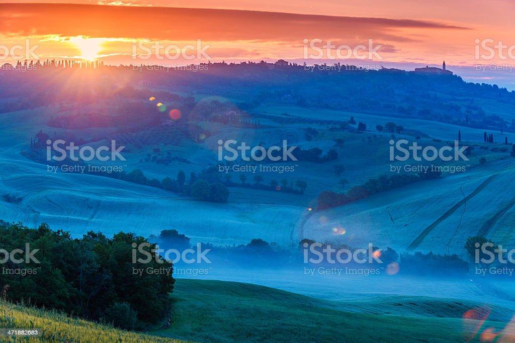 Sunrise at Pienza royalty-free stock photo