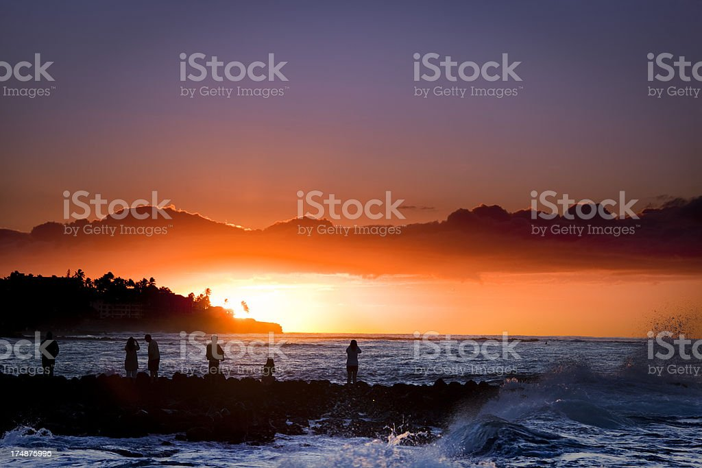 Sunrise at Poipu Beach Kauai Hawaii Horizontal royalty-free stock photo