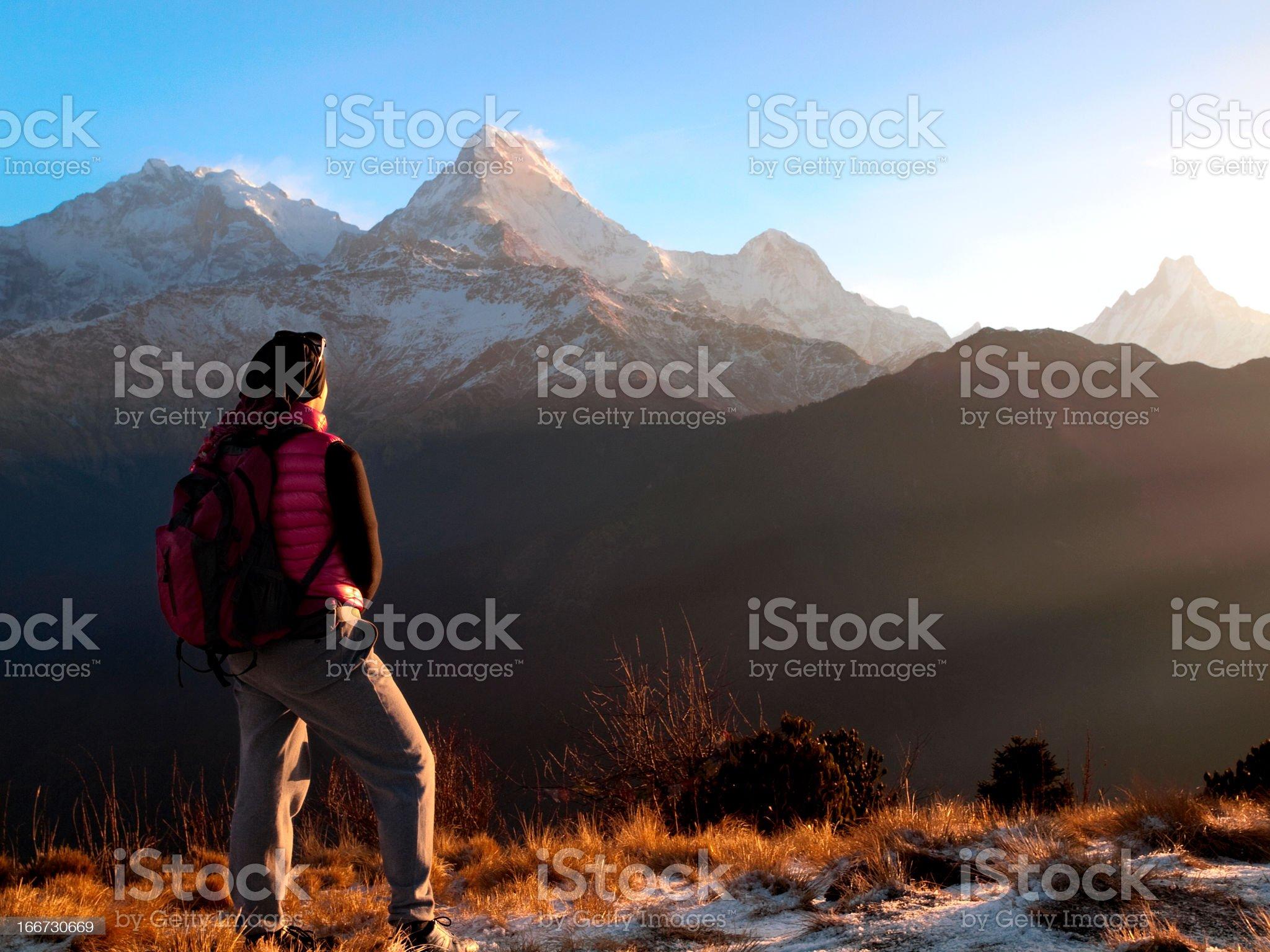 Sunrise at Poon Hill, Himalaya royalty-free stock photo