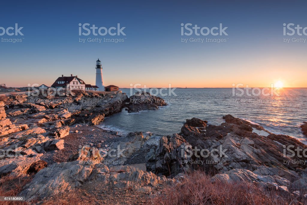 Sunrise at Portland Head Light House stock photo