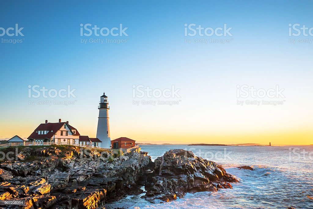 Sunrise at Portland Head Lighthouse at Fort Williams stock photo