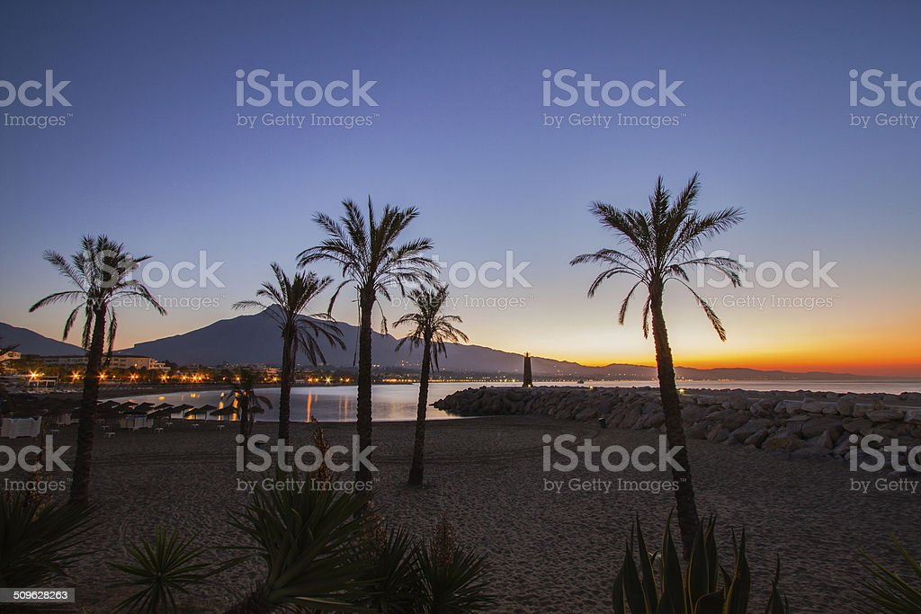 Sunrise at Puerto Banús stock photo