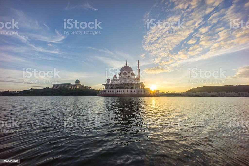 Sunrise At Putra Mosque, Putrajaya Malaysia stock photo