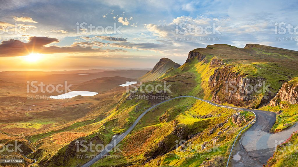 Sunrise at Quiraing, Isle of Skye, Scotland stock photo