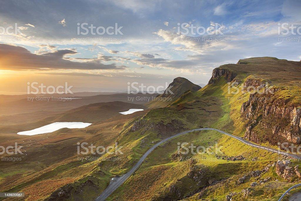 Sunrise at Quiraing, Isle of Skye, Scotland stock photo