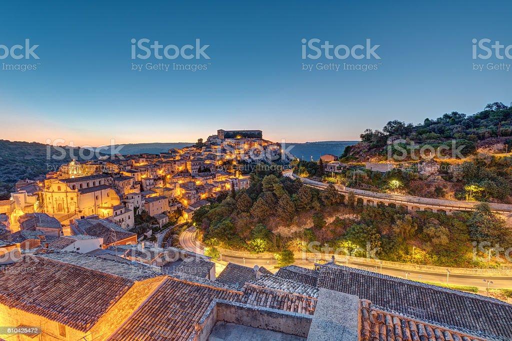 Sunrise at Ragusa Ibla in Sicily stock photo
