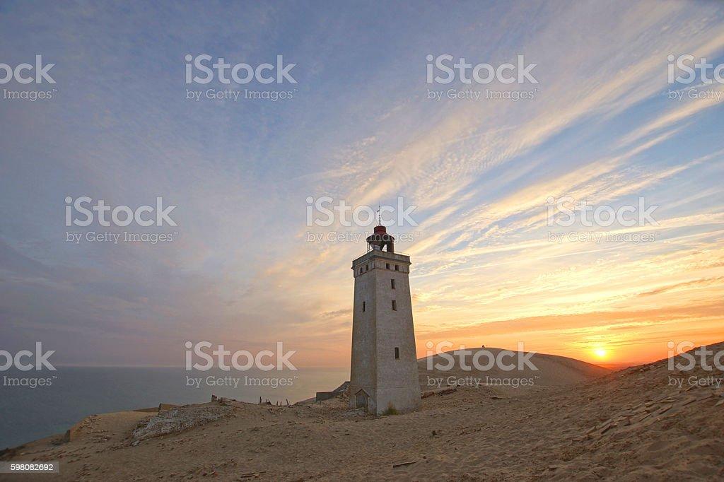 Sunrise at Rubjerg Knude Fyr, Northern Jutland stock photo