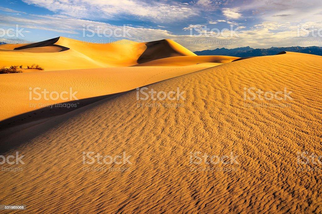 Sunrise at Sand Dunes stock photo