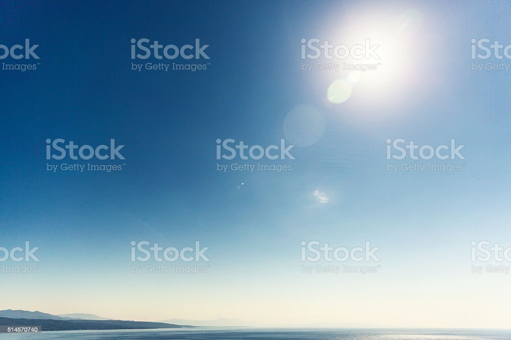Sunrise at Sea, Indonesia stock photo