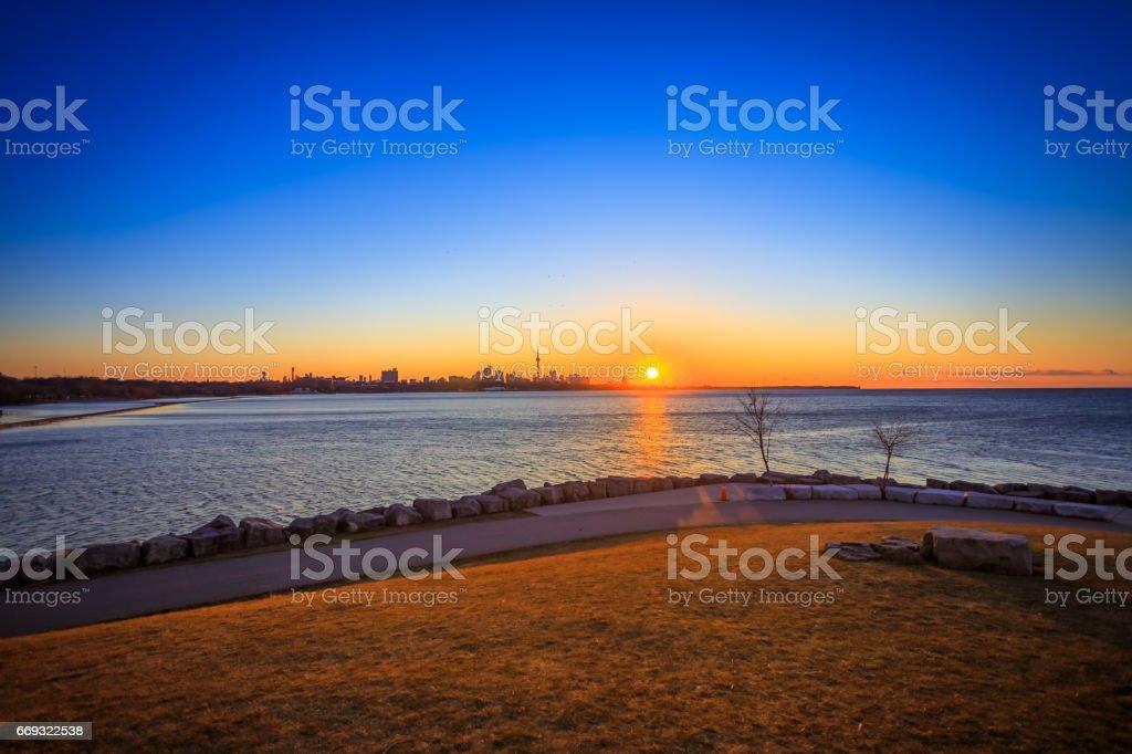 Sunrise at Sheldon Lookout Toronto stock photo