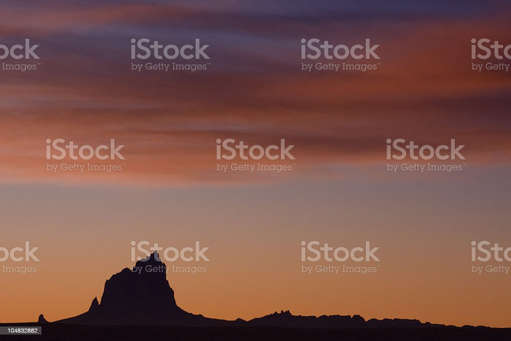 Sunrise at Shiprock in New Mexico, Land of Enchantment stock photo