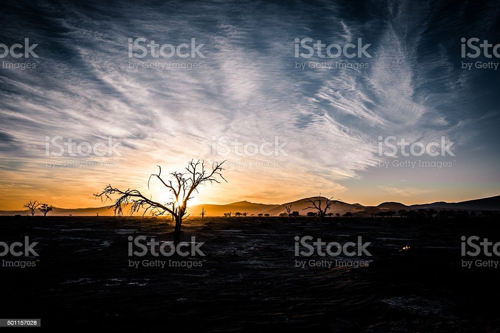 Sunrise at Sossusvlei stock photo