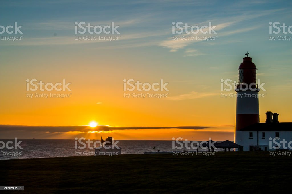 Sunrise at Souter Lighthouse stock photo