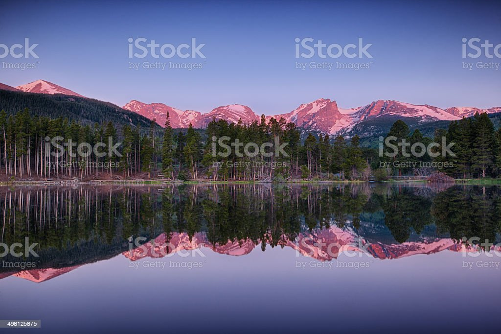 sunrise at Sprague lake, Rocky Mountain National Park stock photo