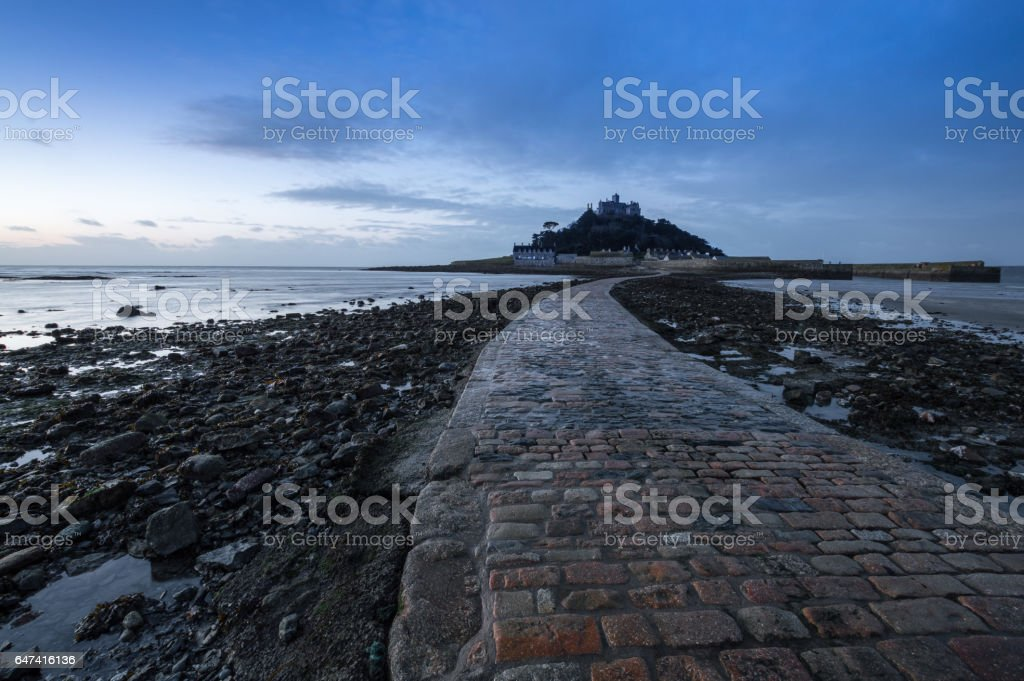 Sunrise at St Michael's Mount stock photo