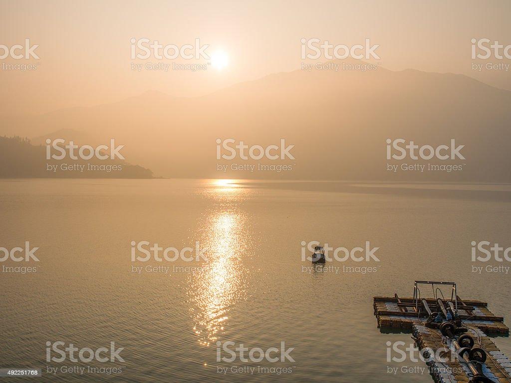 Sunrise at Sun Moon Lake stock photo