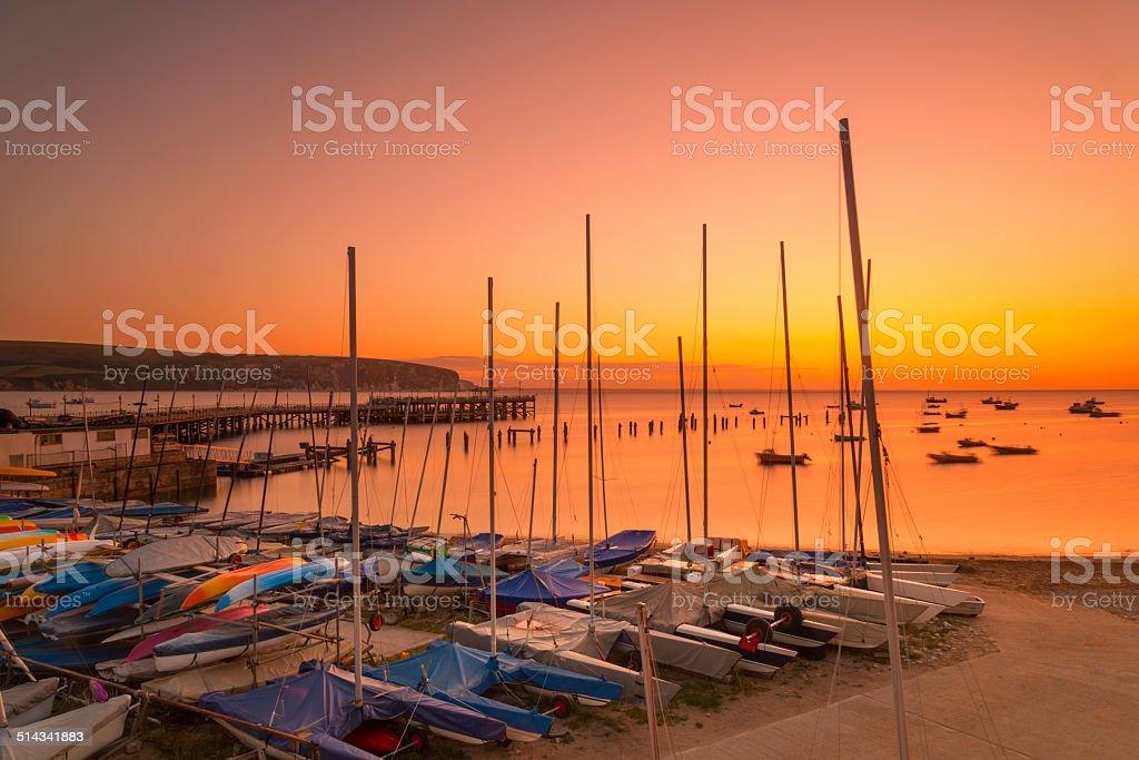 Sunrise at Swanage Bay stock photo