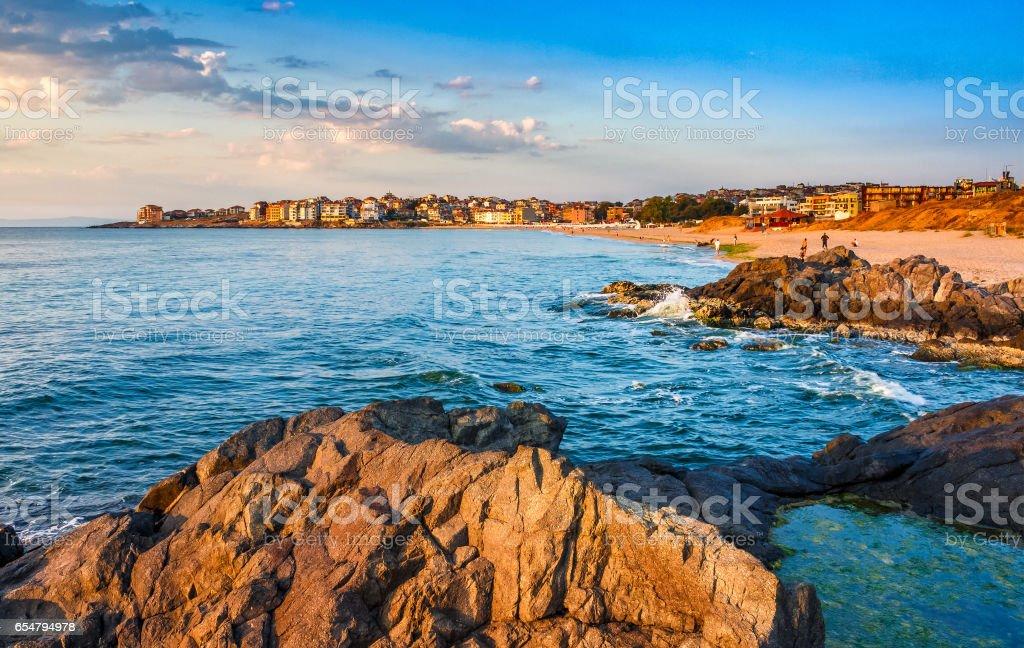 sunrise at the beach of Sozopol stock photo