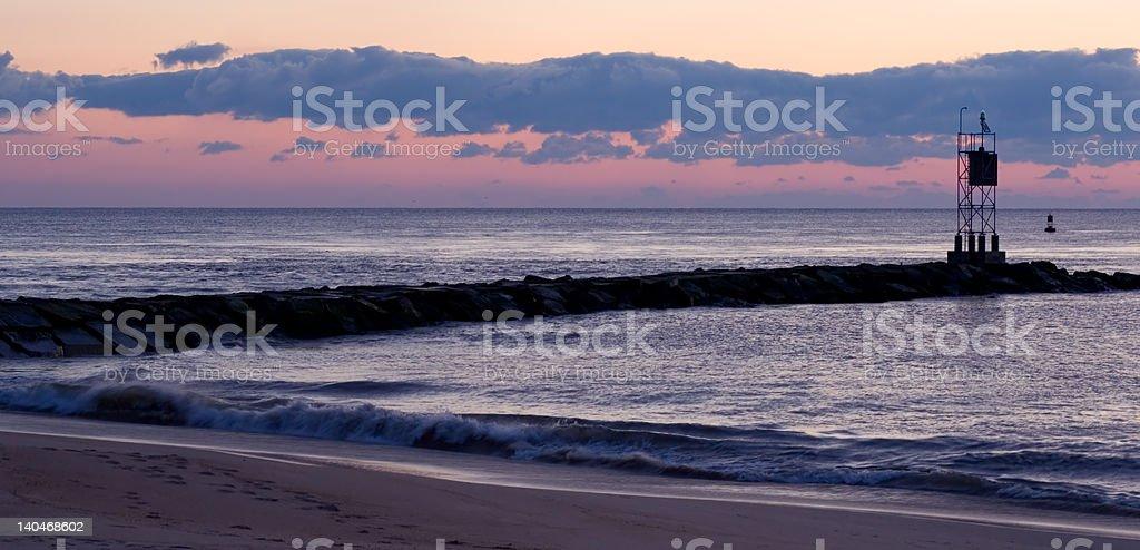 Wschód słońca na plaży zbiór zdjęć royalty-free