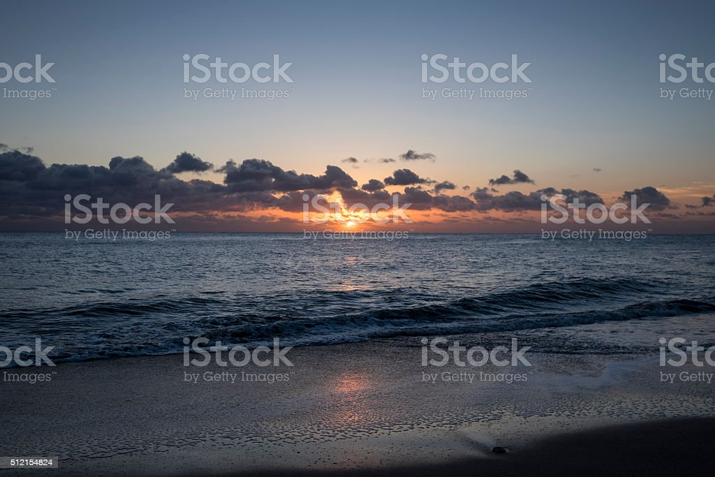 Sunrise at the beach stock photo