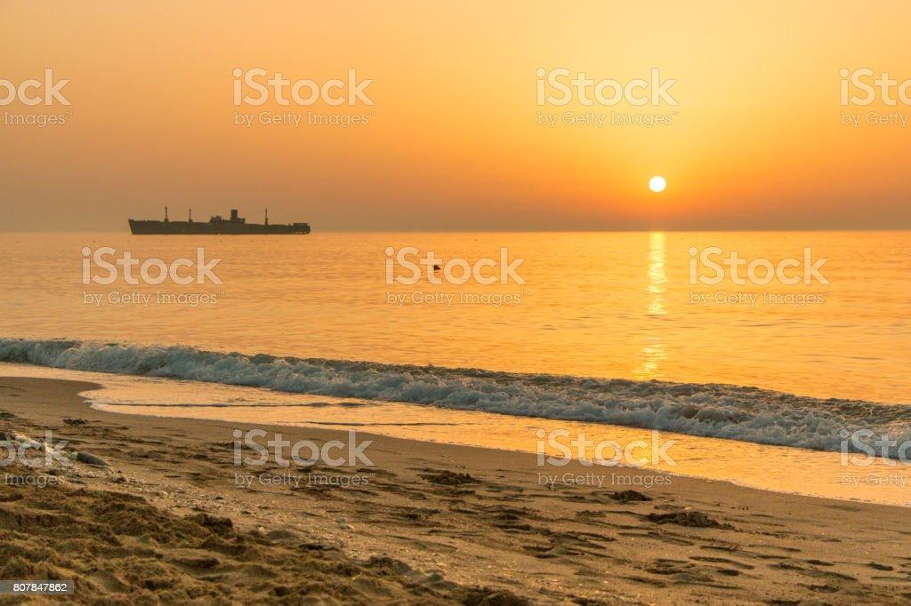 Sunrise at the Black Sea stock photo
