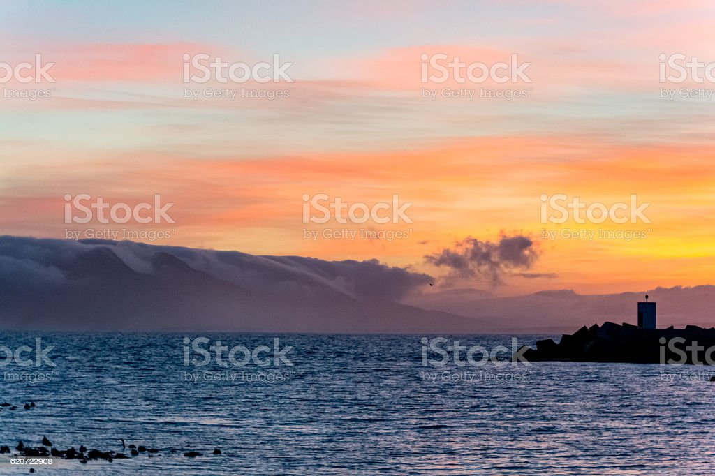 Sunrise at the Harbor of Hermanus stock photo