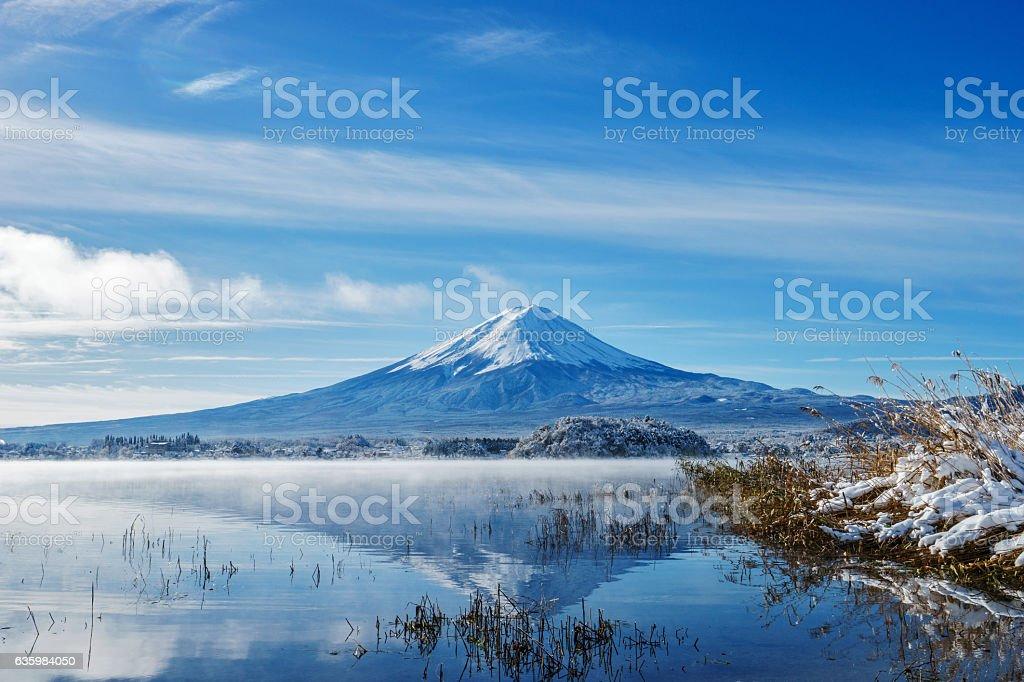 Sunrise at the lake Kawaguchi-ko,Fuji Mountain Background stock photo