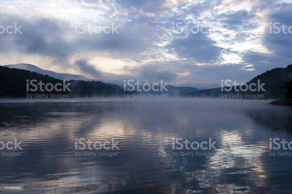 Sunrise at the lake stock photo