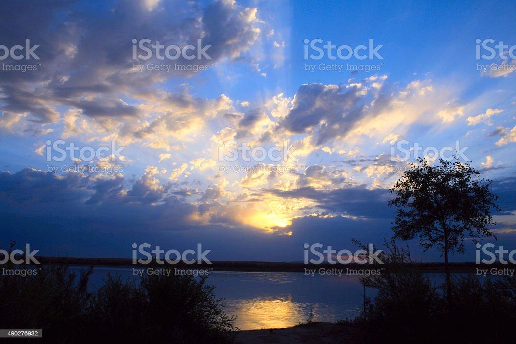 sunrise at the nature stock photo
