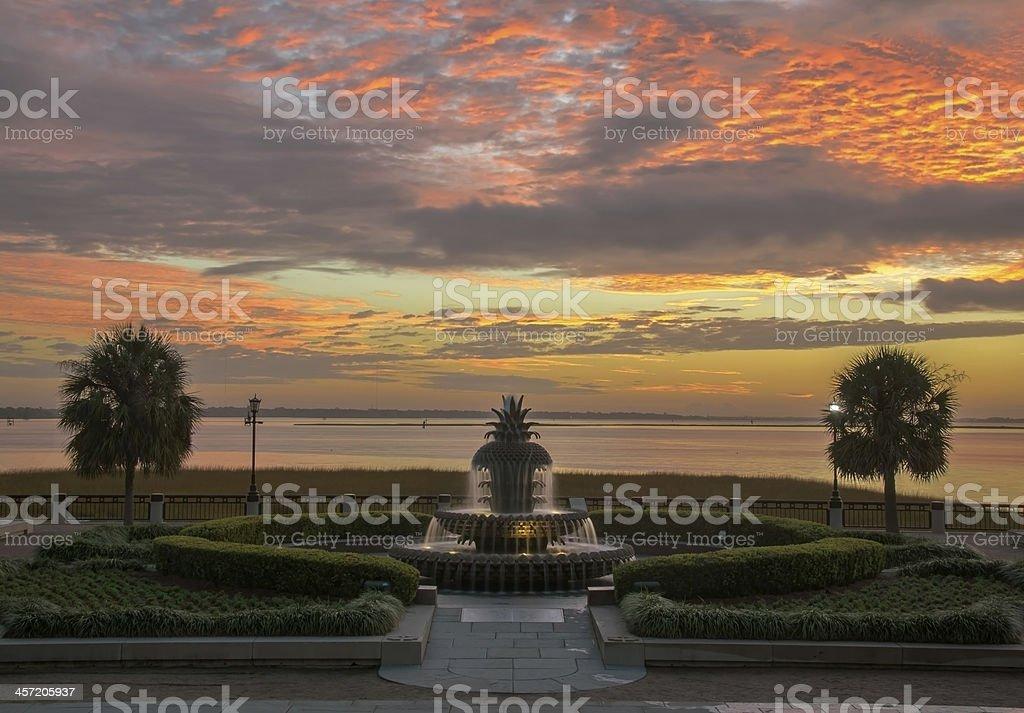 Sunrise at the Pineapple Fountain stock photo