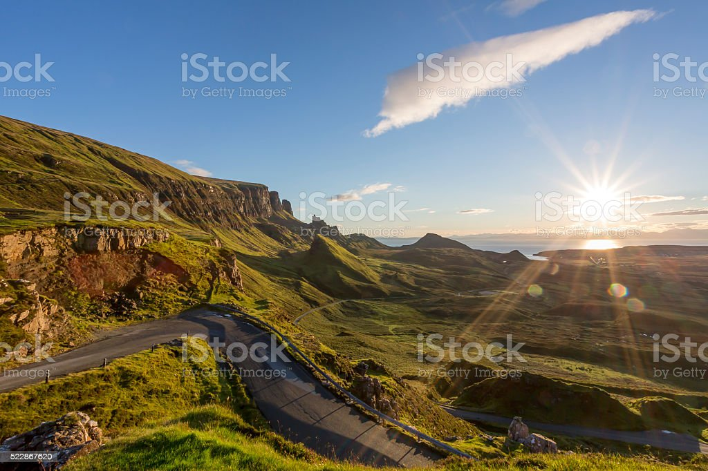 Sunrise at the Quiraing on Isle of Skye Scotland stock photo
