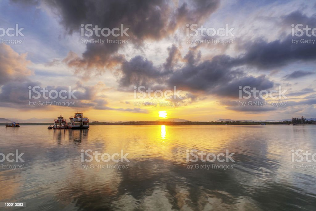 Sunrise at the river in Thailand royalty-free stock photo