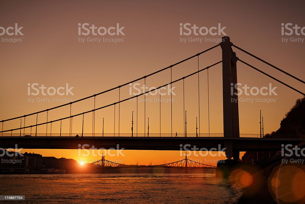 Sunrise at the riverside of Danube royalty-free stock photo