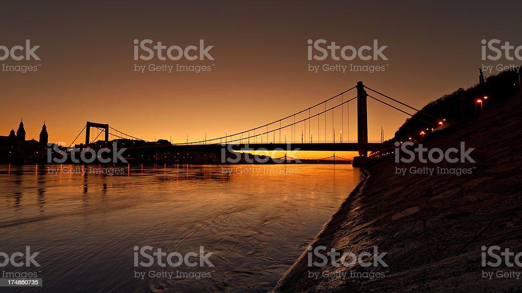 Sunrise at the riverside of Danube royalty-free stock photo