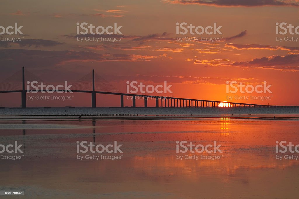 Sunrise at the Skyway Bridge stock photo