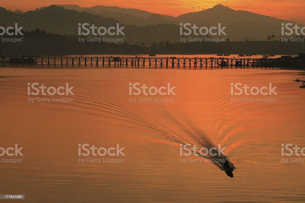 Sunrise at the slow life town, Sangklaburi Kanchanaburi Thailand royalty-free stock photo