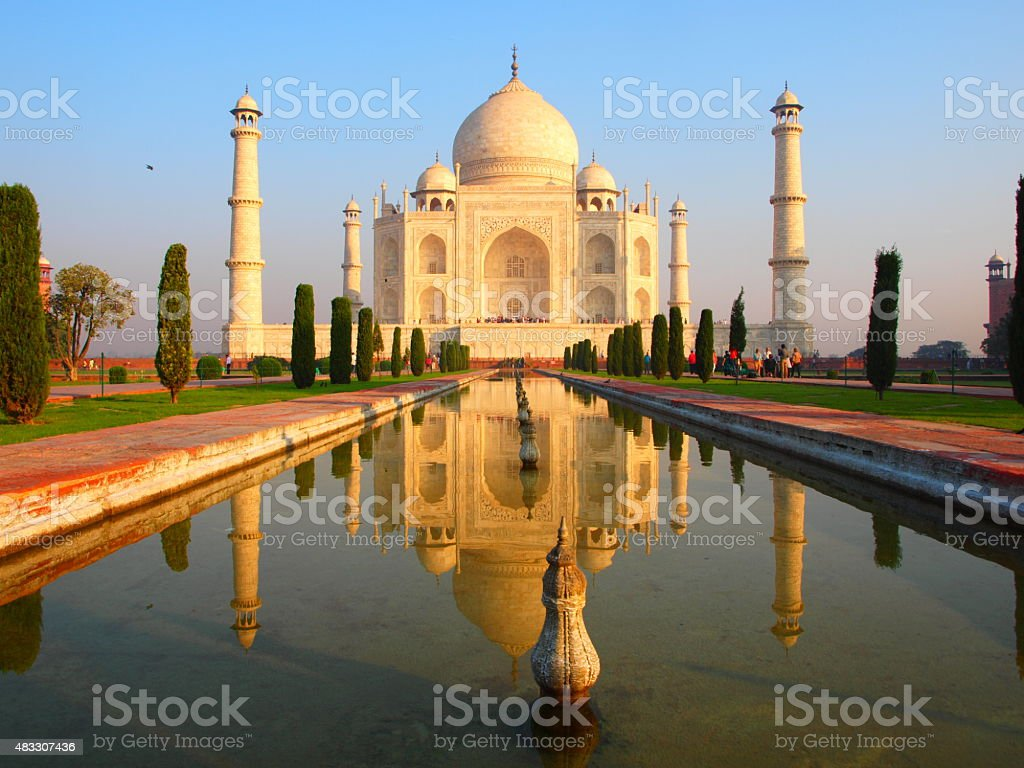 Sunrise at the Taj Mahal stock photo