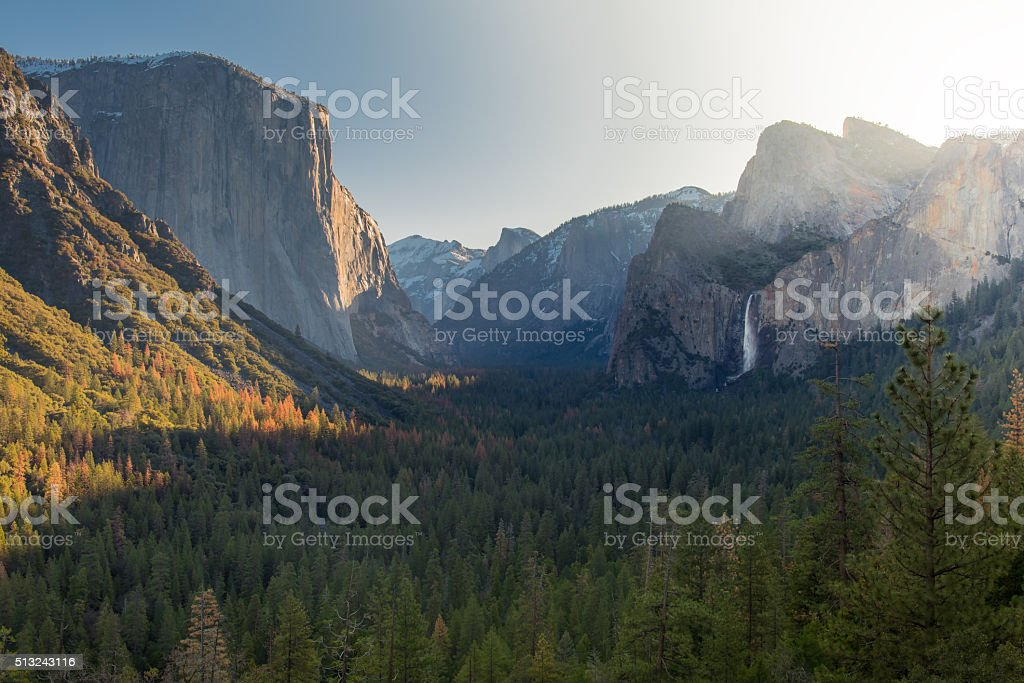 Sunrise at the Valley of Yosemite stock photo