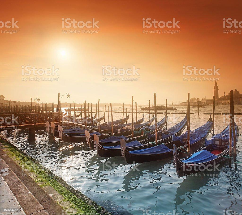 Sunrise at the Venetian lagoon royalty-free stock photo