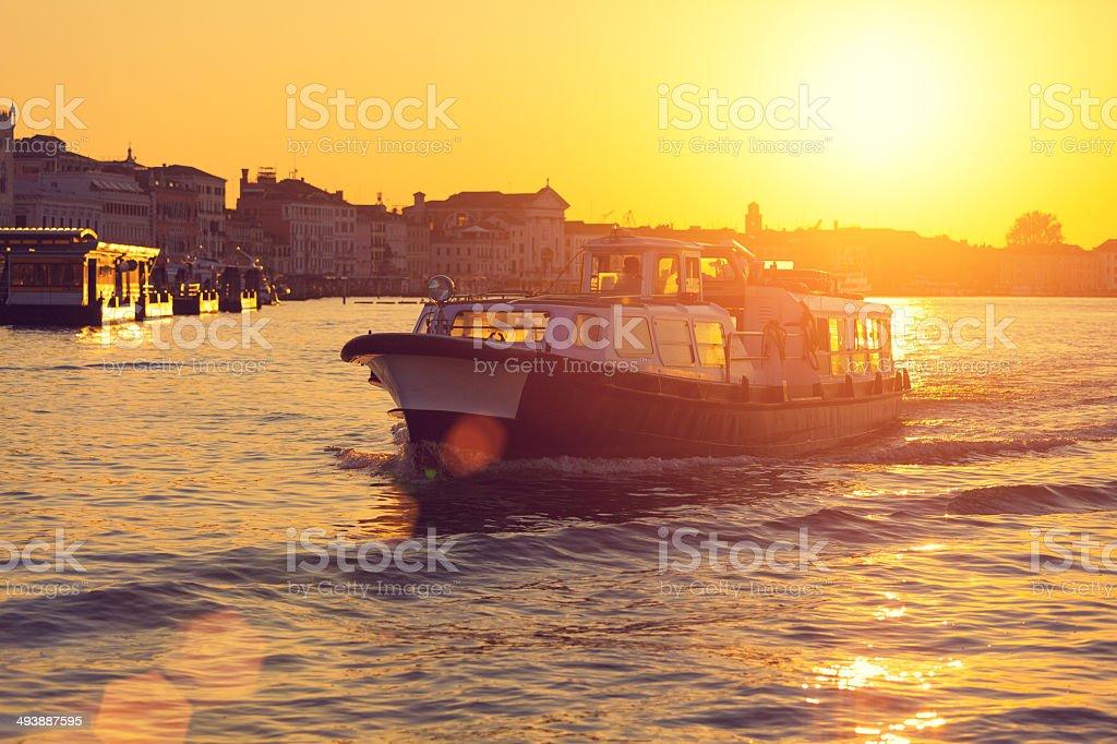 Sunrise at the Venetian lagoon stock photo