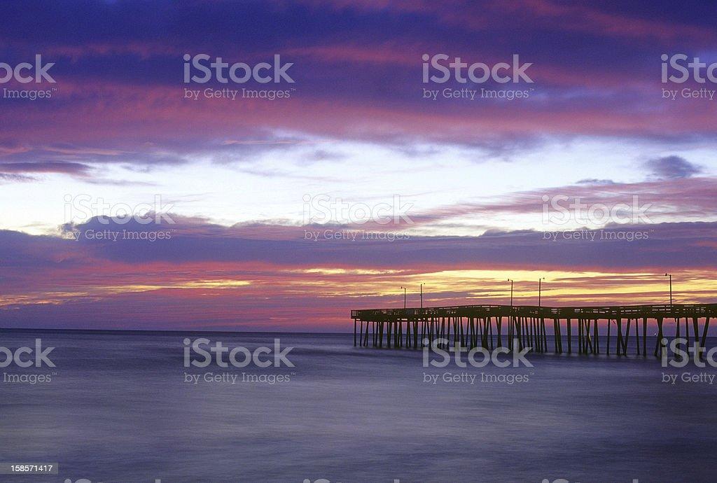Sunrise at the Virginia Beach, VA Pier stock photo