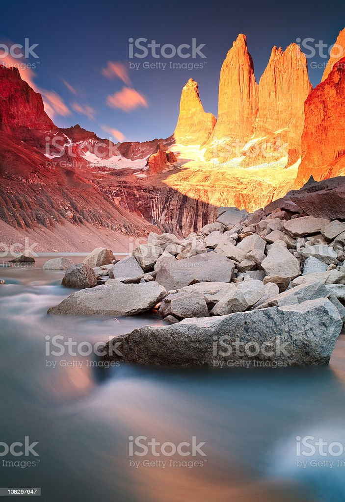 Sunrise at Torres Del Paine Mountains stock photo