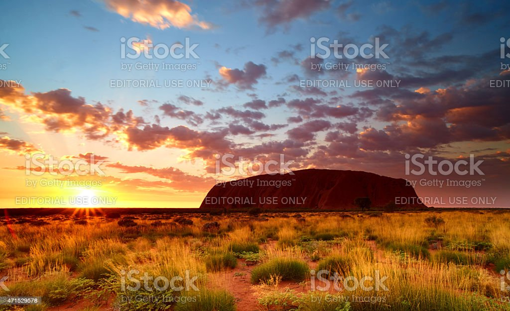 Sunrise At Uluru In Australia's Northern Territory stock photo