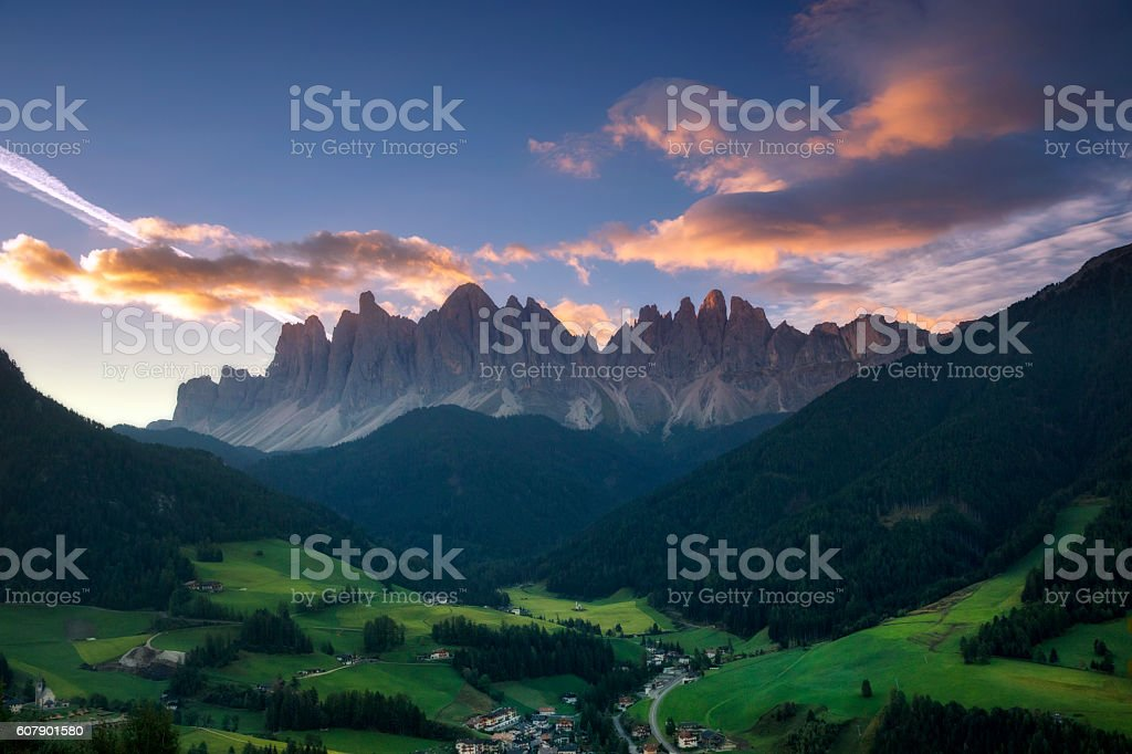 Sunrise at  Villnöss with geisler group, Alps - southtirol stock photo
