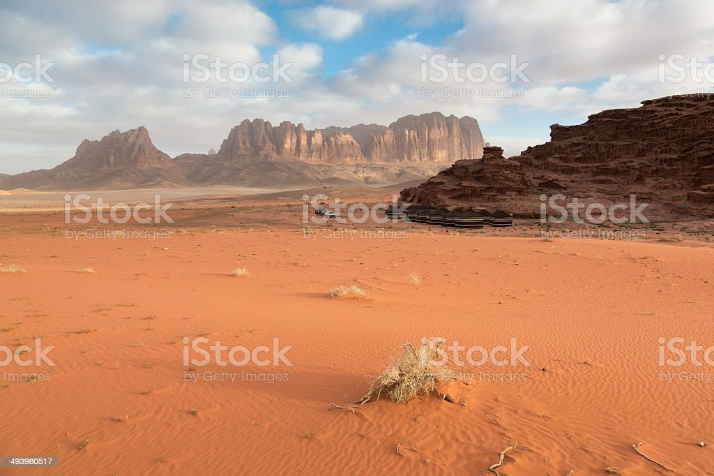 Sunrise at Wadi Rum Desert Camp, Jordan stock photo