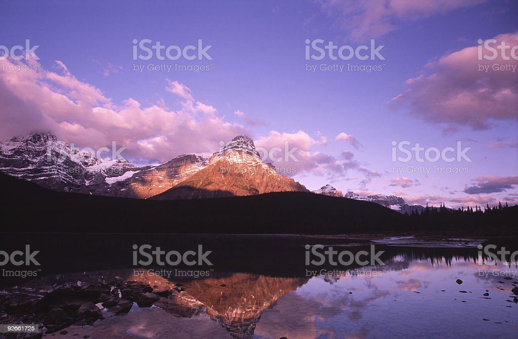 Sunrise at Waterfowl Lake in Candian Rockies royalty-free stock photo