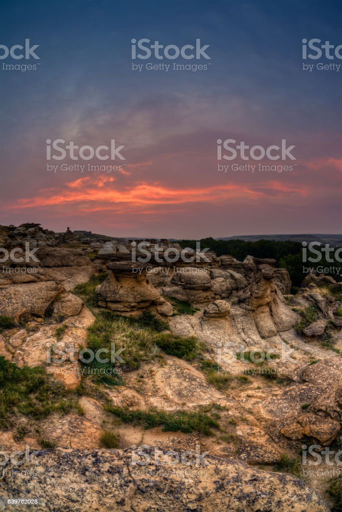 Sunrise at Writing on Stone Provincial Park in Alberta, Canada stock photo