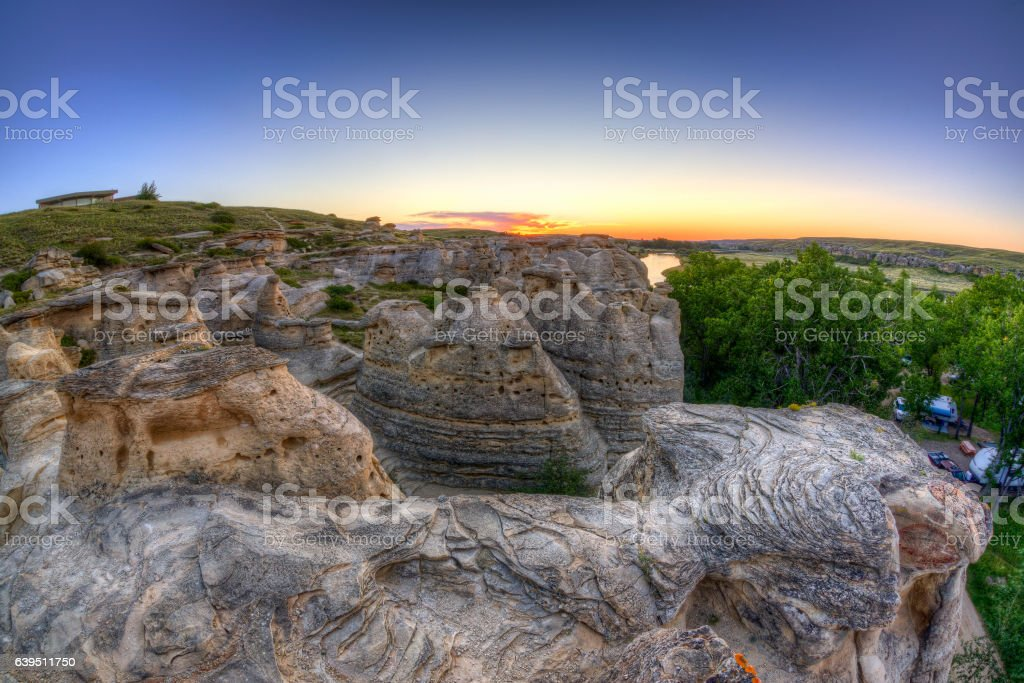 Sunrise at Writing-on-Stone Provincial Park in Alberta, Canada stock photo